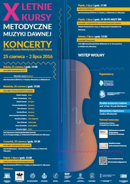 X Letnie Kursy Metodyczne Muzyki Dawnej plakat