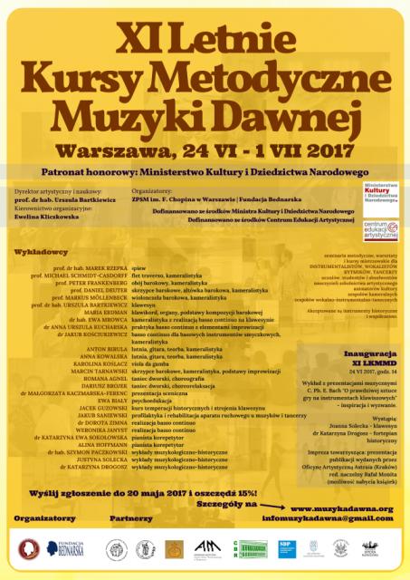 XI Letnie Kursy Metodyczne Muzyki Dawnej - afisz